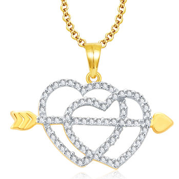 Pissara Radiant Gold And Rhodium Plated CZ Pendant For Women