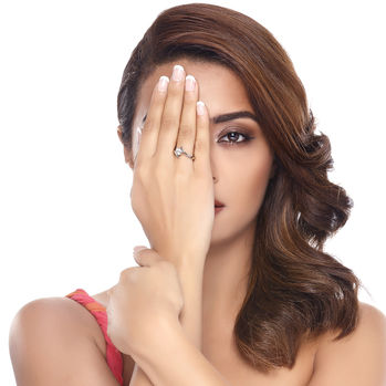 Sukkhi Surveen Chawla Collections Angelic Rhodium Plated Solitaire CZ Ring, 10