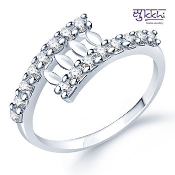 Sukkhi Classy Rodium plated CZ Studded Ring, 14, white and silver