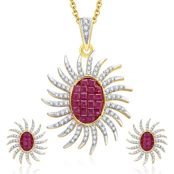Pissara Dangly Gold And Rhodium Plated Ruby CZ Pendant Set For Women