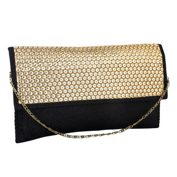 Sukkhi Black and Gold Classic Clutch Handbag