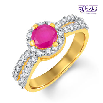 Pissara Luxurious Gold and Rhodium Plated CZ and Ruby Studded Ring, 11