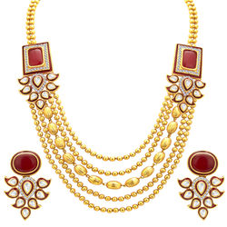 Sukkhi Artistically Five String Gold Plated Necklace Set For Women
