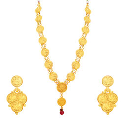 Sukkhi Sleek Laxmi Temple Coin Gold Plated Necklace Set For Women