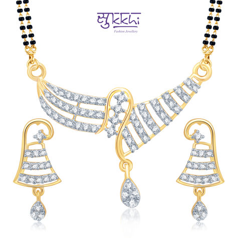Pissara Fascinating Gold and Rhodium Plated Cubic Zirconia Stone Studded Mangalsutra Set