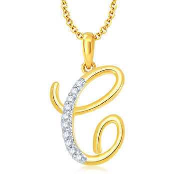 "Pissara Letter"" C"" Gold and Rhodium Plated CZ Alphabet Pendant"