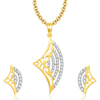 Pissara Lively Gold And Rhodium Plated CZ Pendant Set For Women