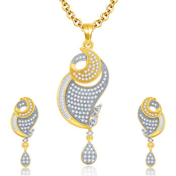 Pissara Beguiling Gold And Rhodium Plated CZ Pendant Set For Women