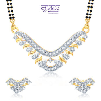 Pissara Sparkling Gold and Rhodium Plated Cubic Zirconia Stone Studded Mangalsutra Set