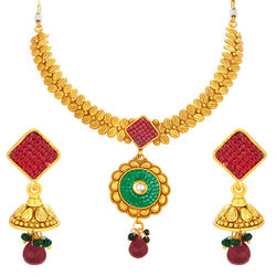Sukkhi Modern Invisible Setting Gold Plated Necklace Set For Women