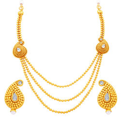 Sukkhi Fabulous Three String Gold Plated Necklace Set For Women