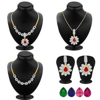 Pissara Creative Detachable 4 in 1 CZ Jewellery Set with Chain and 5 Changeable Stone