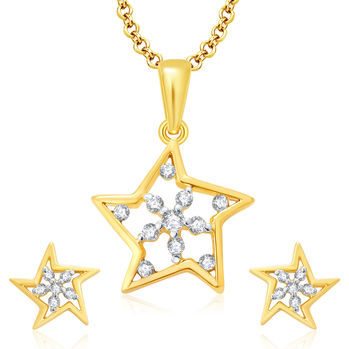 Pissara Twilight Gold And Rhodium Plated CZ Pendant Set For Women