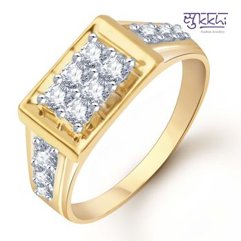 Pissara Gold and Rhodium Plated CZ Ring for Men(103GRK510), 19