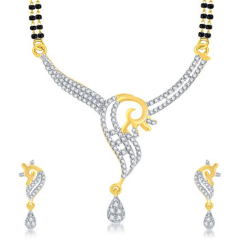 Pissara Designer Gold Plated CZ Mangalsutra Set For Women