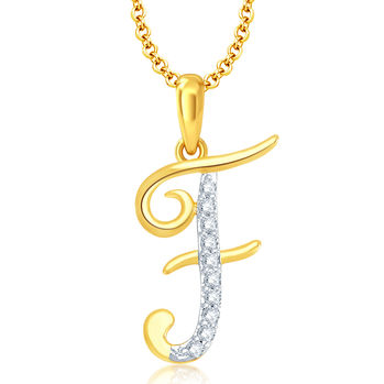 "Pissara Letter"" F"" Gold and Rhodium Plated CZ Alphabet Pendant"