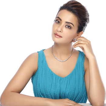 Sukkhi Surveen Chawla Collections Rhodium Plated CZ Single string Solitaires Necklace Set - 1167VN6500