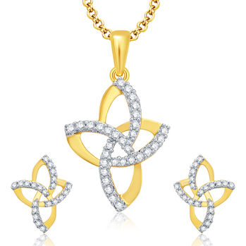 Pissara Winsome Gold And Rhodium Plated CZ Pendant Set For Women