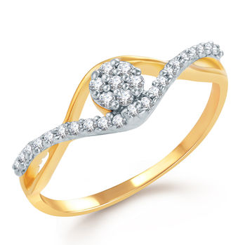 Pissara Youthful Gold and Rhodium Plated CZ Ring, 11
