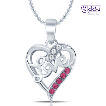 Sukkhi Lavish Rhodium Plated Valentine Heart Pendant with Chain