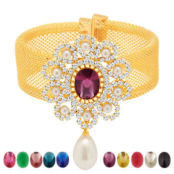 Sukkhi Magnificent Gold Plated AD Ten Changeable Stone Kada