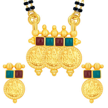 Sukkhi Classic Laxmi Temple Coin Gold Plated Mangalsutra Set For Women