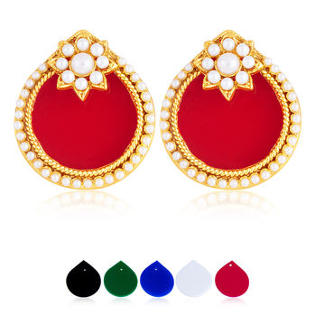 Sukkhi Fascinating 5 Set Of Changeable Plates Gold Plated Earring For Women