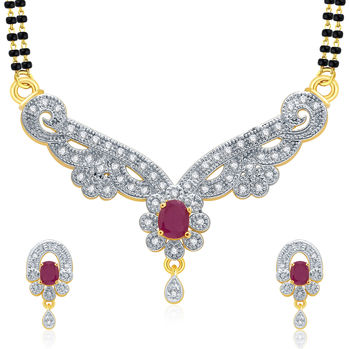 Pissara Enchanting Gold And Rhodium Plated Ruby CZ Mangalasutra Set For Women