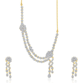 Pissara Fashionable Gold And Rhodium Plated CZ Neklace Set For Women