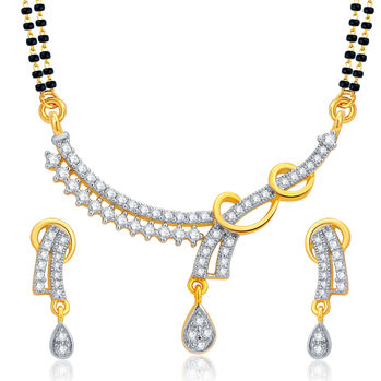 Pissara Sparkling Gold and Rhodium Plated CZ Mangalsutra Set For Women