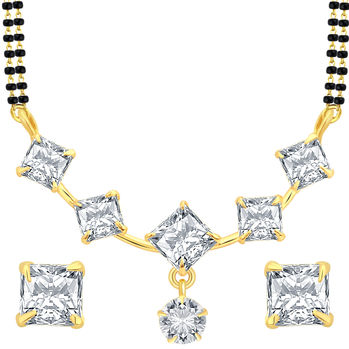 Sukkhi Intricately Crafted Gold Plated CZ Mangalsutra Set For Women