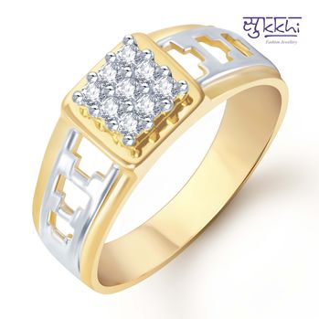 Pissara Gold and Rhodium Plated CZ Ring for Men(110GRK450), 24
