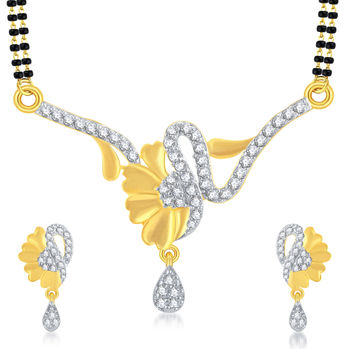 Pissara Pretty Solitaire Gold Plated CZ Mangalsutra Set For Women
