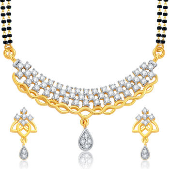 Pissara Blossomy Gold and Rhodium Plated CZ Mangalsutra Set For Women