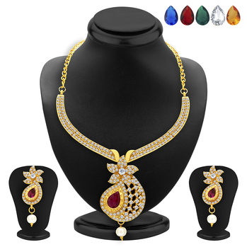Sukkhi Brilliant Necklace Set Detachable to Pendant Set with Chain and Set of 5 Changeable Stone For Women