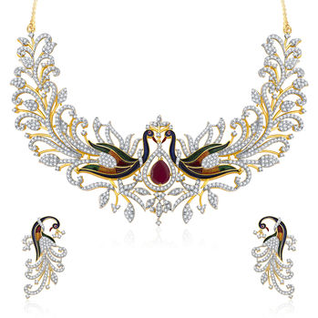 Pissara Dazzling Peacock Gold And Rhodium Plated CZ Neklace Set For Women