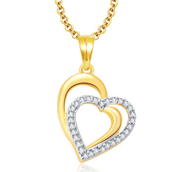 Pissara Heartly Gold And Rhodium Plated CZ Pendant For Women