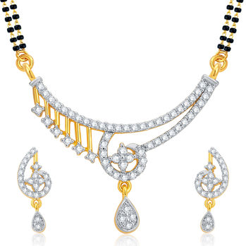 Pissara Charming Gold and Rhodium Plated CZ Mangalsutra Set For Women