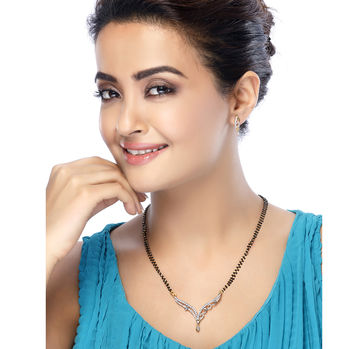 Sukkhi Surveen Chawla Collections Traditionally Gold and Rhodium Plated CZ Mangalsutra Set