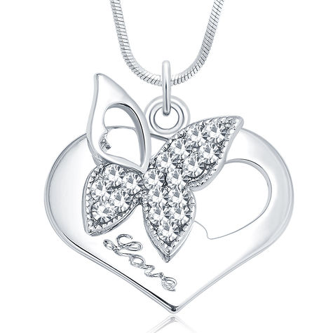 Sukkhi Butterfly Rhodium Plated Austrian Crystal Valentine Heart Pendant With Chain