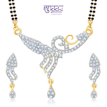 Pissara Classic Gold and Rhodium Plated Cubic Zirconia Stone Studded Mangalsutra Set
