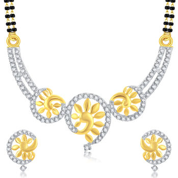 Pissara Elegant Gold Plated CZ Mangalsutra Set For Women