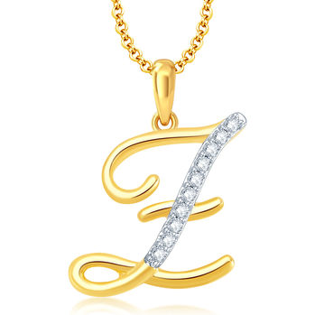 "Pissara Letter"" Z"" Gold and Rhodium Plated CZ Alphabet Pendant"
