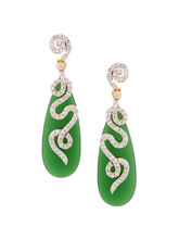 Mint Green Long Tear Drop Stone Earrings, Green
