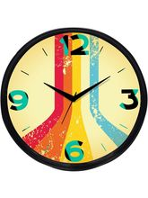 Cartoonpur Analog Round 11 Inch Viral Road Wall Clock with Glass (CPRB11030), black