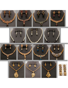 Swarna Priyaa 8 Set Jewel Collection With 3 Pearl Chain set and Pair of Kada With 3 Pendant Sets