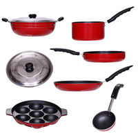Brilliant 7 Pcs Non Stick Cookware Set (Red)