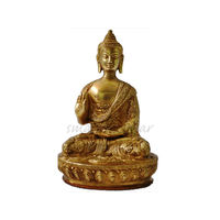 Lord Buddha Golden Antique Statue Blessing, brass