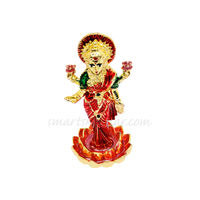 Laxmi Ji Statue, 7 cm, colourful, white metal