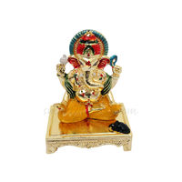 Ganesh On Chowki Statue, 7.5 cm, colourful, white metal